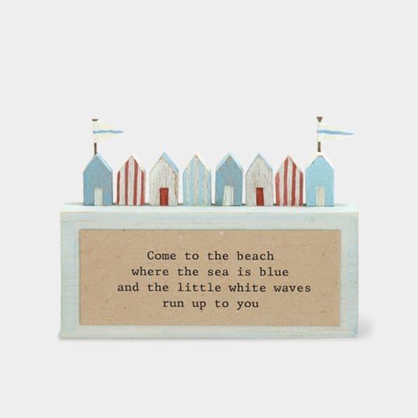 MINI Rustic Wood Nautical BEACH HUT Ornament Decoration Come to Beach 11x6x2cm